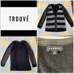 Trouve Wool Mohair Sharkskin Sweater Cardigan Top